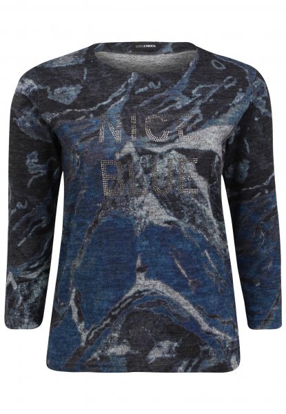 DORIS STREICH Doris Streich Pulli-Shirt mit Allovermuster und Glitzer-Steinchen 10637758