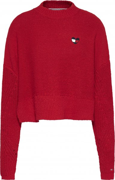 TOMMY JEANS Cropped Fit Pullover mit Flag-Herz 10618724