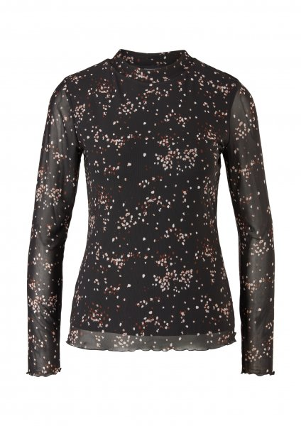 S.OLIVER BLACK LABEL Shirt aus Mesh mit Allover-Print 10640113