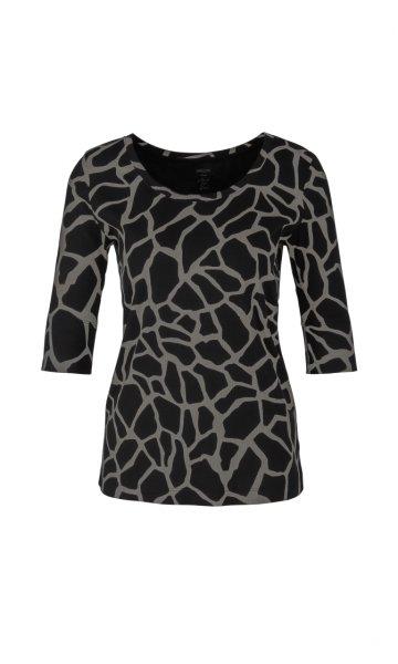 MARC CAIN Ripp-Jersey-Shirt mit Giraffenmuster 10605764