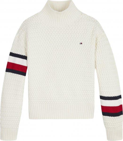 TOMMY HILFIGER Mock Neck-Pullover mit grobem Zopfmuster 10624953