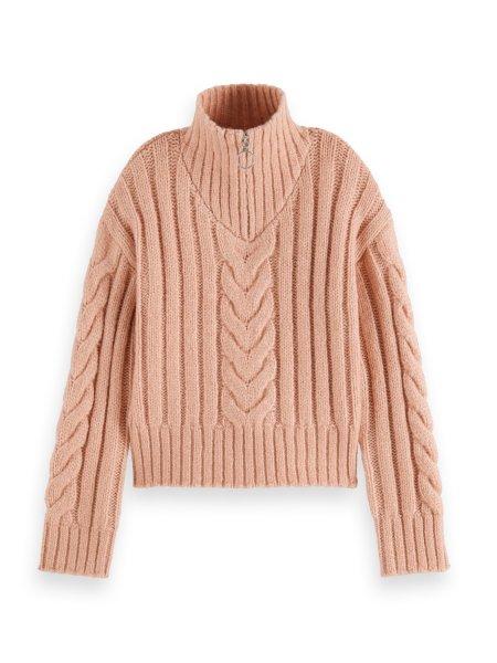SCOTCH & SODA Cropped Pullover mit Zopfmuster und halblangem Reißverschluss 10626436