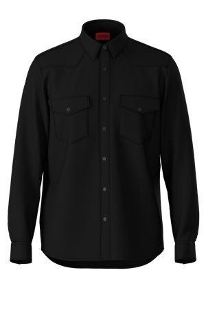 HUGO Relaxed-Fit Hemd aus Kunstleder mit Brusttaschen 10627146