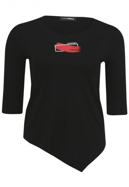 DORIS STREICH Doris Streich T-Shirt mit Motiv-Print und asymmetrischem Saum 10637755