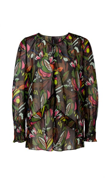 MARC CAIN Feminine Print-Bluse mit Volants 10589520