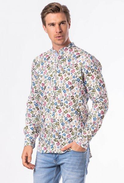 FRANCESCO FABBRI Leinenhemd 1/1 Arm Stehkragen Print 10613704